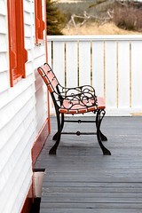 Bench (Karen_Chappell) Tags: bench house red white nfld newfoundland torscove cribbies avalonpeninsula canada atlanticcanada eastcoast deck bridge patio architecture building home wood wooden paint painted clapboard seat lines