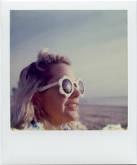 Flower Eyes (T-Terror) Tags: instant color old day5 roidweek2018 roidweek polaroidweek springpoloroidweek2018 square impossibleproject poloroidsx70alpha1 sx70 beach girl woman glasses blond lisa