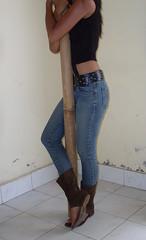 SDC13649 (ikat.bali) Tags: girl fotomodell photomodel leder leather jeans amateur belt gürtel fashion fetish outfit