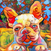 Sadie (Ross Studio) Tags: frenchbulldog bulldog dog pet animal breed canine cute face mammal paws portrait pup purebred digitalillustration background abstract design backdrop artistic decoration texture pattern art decorative color illustration colorful grunge swirl messy grungy graphic anthonyross photomanipulation photoshop faceon rossstudio publicdomain black blue orange red green brown purple yellow white eyes abstractart abstractdesign abstractpainting artlovers contemporaryart experimentalart hybrid doggy