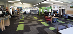 Wainuiomata Library's New Carpet Tile Installation Panorma (Aaron & Radhika) Tags: library community interior design floor carpet tile textile nikon d3100 newzealand layout tukutuku panel poutama cultural maori wellington centre raw photoshop post processed photoshopcc balsan origami lime green belgotex equinox grey lower hutt panorama