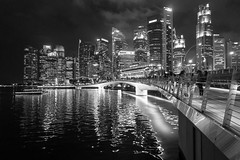 City of lights (Martin Durco) Tags: black white night evening city downtown asia singapore lights light water bridge skyscraper citylife