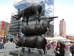 The Last Three - Rhino Stacking Sculpture - Astor Place NYC 0730 (Brechtbug) Tags: the last three rhino sculpture by gillie marc astor place nyc 2018 new york city sign 17 foot high raising critical awareness over conservation northern white art statue animal animals standing each other stacked stacking bronze horn horns fresh air creatures almost extinct not zoo sidewalk street streets downtown scene east village cooper union