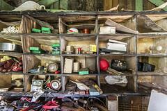 ... what's left behind ... (jane64pics) Tags: whatsleftbehind abandone abandonedbuilding oldabandoneddecayed old decay decaying sadness janefriel janefriel2017 tools shelves shed