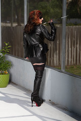 SMOKING! (Lady Sultry) Tags: sultry ladysultry sultryleather ladysultrycom leather latex leder lack boots thighboots thighhighboots heels highheels milf leathermilf milfmistress bootedmilf milfinboots goddessmistress gilf mistress domina dominatrix bdsm goddess therealladysultry ladysultrylasvegas prodomme femdom kingdom alternativelifetsyle fetish bootfetish leatherfetish woman womenincharge reena laureena jorrdan lasvegas leathershorts femdomfetish leatherdomination fetishmilf longnails paintednails leathersex nails rednailfetish nailfetish daytonabeach bosslady bossdomina sexinheels