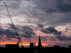 Birmingham city centre from Digbeth, April 2018 (Wagsy Wheeler) Tags: birmingham birminghamcitycentre crane cranes silhouette spire spires tower towers rotunda bttower dusk evening horizon view skyline clouds stannes stanneschurch church