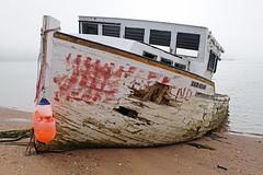 DSC00193 - Needs a Patch... (archer10 (Dennis) 154M Views) Tags: fishing sony a6300 ilce6300 18200mm 1650mm mirrorless free freepicture archer10 dennis jarvis dennisgjarvis dennisjarvis iamcanadian novascotia canada boat longisland fog