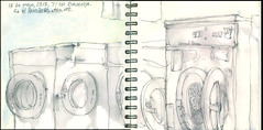 En el lavadero, otra vez.  71OP, Brooklyn. 15 de mayo, 2018. (Sharon Frost) Tags: brooklyn sharonfrost laundryrooms windsorterrace 71op lifeonthesharkway drawings sketchbooks journals daybooks urbansketchers stonehenge