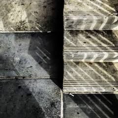 the 3-step program for smokers & gumchewers (MyArtistSoul) Tags: greyongray shadows parallel lines gum blackspots cigarette butts litter grunge steps concrete monochrome texture pattern minimal urban beauty square 1895 iphone7