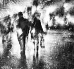 only you . . . (YvonneRaulston) Tags: evening vintage emotion emotive digital atmospheric artistry mysterious soft dusk night nsw sydney australia creative digitalart art texture love couple misty impressionist mood moody moments rain surreal street slowshutter monochrome abstract people figures blackandwhite bw white black iphone