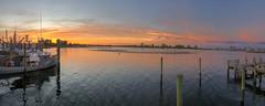 A panorama of the sunset from Jack Baker's Patio Bar in Point Pleasant Beach, NJ. Captured via an iPhone 8 Plus. (apardavila) Tags: jackbakerspatiobar jackbakerswharfside jerseyshore manasquanriver pointpleasantbeach iphone iphone8plus panorama river sky sun sunset