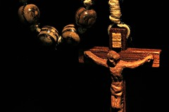 Holy Rosary (Luke Y.) Tags: ribbet macromonday lowkey black cross rosary wood carved catholic crucifix jesus christ macro beads twine faith prayer pray meditation