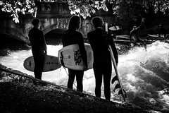 Weekend Fun at Eisbachwelle (cs_one) Tags: street water germany surf splash eisbachwelle ~activity adult board extreme wave sunlight surfboard europe recreational surfing action active people outdoor wetsuit wet watersports münchen man adventure silhouette waiting river element surfer recreation sport grouptogether blackandwhite sports monochrome sony alpha a6000