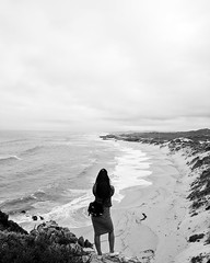 Walker Bay, South Africa (Andrew M Gilmore) Tags: people android googlepixelxl southafrica gardenroute girl woman landscape beach ocean seaside blackandwhite bw mobile travelphotography travel