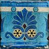 Blue vintage ceramic tile on a grave (Monceau) Tags: blue vintage ceramic tile fan design crazing yellow macro cimetièredupèrelachaise paris cemetery