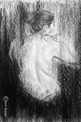 MEMORY (Sketchbook0918) Tags: figure portrait memory impressionism art paper drawing charcoal pencil beautiful exquisite wonderful emotional hand gesture back body hair female