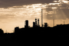 The warming evening sky (cornelis1980) Tags: black industry orange warm light clouds sunrays evening landscape contrast