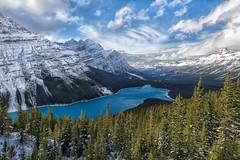 Glacial Blues (Philip Kuntz) Tags: peytolake snow snowypeytolake bowsummit glacialwaters icefieldsparkway banff banffnationalpark alberta canada hikes