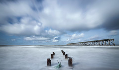 Steetley Pier LE (RichySum77) Tags: steetley pier hartlepool eos canon 80d seascape le long exposure big stopper lee sand wood blur clouds sky blue uk england ship durham coast shore sea ocean water tide