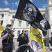 Gun owners rally flag with a human skull