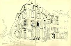 Quai Finkmatt - Strasbourg (lolo wagner) Tags: usk urbansketchers strasbourg alsace croquis sketch