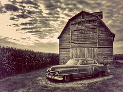long ago at the ranch... (BillsExplorations) Tags: abandoned decay rust rural vintage cadillac old oldcar abandonedillinois forgotten barn corncrib field monochrome sepia classic classiccar rochelle illinois