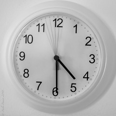 "Time. Long exposure (5"") of a clock. ((Paolo P)) Tags: orologio lungaesposizione longexposure biancoenero blackandwhite clock"