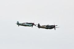 A dogfight bonus. (Chris Firth of Wakey.) Tags: duxford messerchmitt spitfire me109