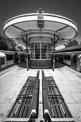 Hainault Tube Station (www.chriskench.photography) Tags: londonist 10mm samyang bw trains transit hainault 28 monochrome underground london silverefexpro tfl f28 tube essex centralline platform blackandwhite station transport ilford england unitedkingdom gb