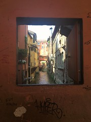 Canal Portal (indigo_jones) Tags: wall window opening finestre shutter canal singel bologna italia italy water architecture hidden surprise liquid peephole view