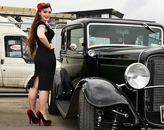 Holly_8833 (Fast an' Bulbous) Tags: girl woman hot sexy pinup model car vehicle classic oldtimer santa pod long brunette hair high heels stockings