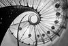 Glass and steel staircase (hjuengst) Tags: prag prague czechrepublic tschechien staircase stairs treppenhaus spiralstaircase wendeltreppe schwarzweis blackandwhite architektur architecture nikond7200