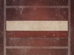 P2250039 (mkreibohm) Tags: surface texture red lines geometry box boxes parallel trackandfield athletics tartan track jump jumping board takeoff longjump minimal minimalism minimalist beige white markings sports