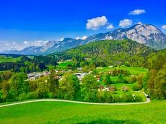 Tyrolean landscape in Spring near Kufstein, Austria (UweBKK (α 77 on )) Tags: landscape scenery scene scenic nature fields trees grass forest mountain hill alps spring village houses blue green sky clouds kufstein tyrol tirol austria österreich europe europa iphone