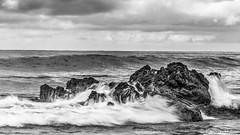Reef Point - Rock Carving_B&W_6368 (www.karltonhuberphotography.com) Tags: 2016 bw blackandwhite clouds horizon horizontalimage karltonhuber longexposure moody nature ocean outdoors pacificocean reefpoint rocks seafoam seascape silkywater sky southerncalifornia waves weather