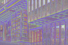 QEII Center - Smudged Crayon Variation (dougbank) Tags: outdoors outside artsy architecture digitalartpainting painterly painted buildings windows topazglow abstract reflections brutalist london window building