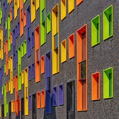 Color Play (Paul Brouns) Tags: perspective architecture colour color colors colours colorful colourful eindhoven student housing windows lines square abstract bright sunny wall facade paulbrouns paul brouns paulbrounscom art photography minimalist minimal