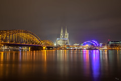 Cologne Cathedral over the Rhine (Chuck - Thanks for the 1M Views!!!) Tags: photosbymch landscape nightscape cityscape colognecathedral rhine rhein cologne köln northrhinewestphalia germany 2018 canon 5dmkiv hdr composite night nightsky reflection bridge musicdome historicalsite outdoors travel winter