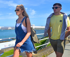 Along the Railings (Owen J Fitzpatrick) Tags: ojf people photography nikon fitzpatrick owen pretty pavement chasing d3100 ireland editorial use only ojfitzpatrick eire dublin republic city tamron candid joe candidphotography candidphoto unposed natural attractive beauty beautiful woman female lady j along photoshoot street 2018 dun laoghaire prom promenade road dslr digital denim dress sunglasses yellow skirt blonde leg water sea blue sky heatwave ponytail hair man male railing walk shades scotsmans bay dunlaoghaire summerishere summer streetphoto streetphotography owenjfitzpatrick