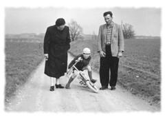 Happy Mother's Day (nelhiebelv) Tags: drive lane farms monotone walking bicycle boy man woman
