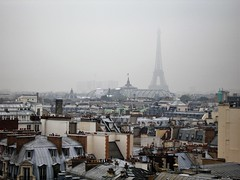 Paris rooftops and Eiffel Tower (JohnVenice) Tags: paris tower france rooftops eiffel city grandpalaise palais mansard roof