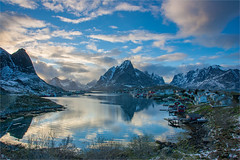Reine - Lofoten (Frank S. Andreassen) Tags: lofoten spring mountains evening snow clouds blue sea water nature reine norway nordnorge arctic wide angle reflections northern
