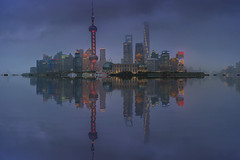 Out of the Fog (merbert2012) Tags: china fog clouds shanghai longexposure panorama lights reflection skyline nikond800 cityscape city travel reisen water digitalmanipulation