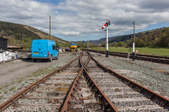 Carrog (Gary Kinsman) Tags: 2018 canon35mmf2 canoneos5dmarkii canon5dmkii denbighshire wales newtopographics topographics landscape tracks railway railwayline carrograilwaystation llangollenrailway hills countryside country blue van bluevan fordtransit