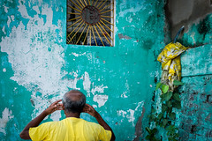 Untitled (koushiksinharoy1) Tags: streetphotography streets streetstyle art visualstorytelling artistry candid color colourful morning kolkata india spiritual divine religious gesture posture man hand back aum