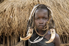 You can leave your hat on (alfienero) Tags: ethnic tribal hat mursi tribe omo river vally ethiopia portrait child
