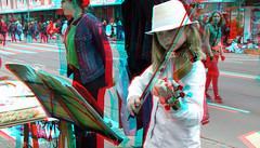 Koningsdag Binnenweg Rotterdam 3D (wim hoppenbrouwers) Tags: koningsdag binnenweg rotterdam 3d anaglyph stereo redcyan viool violin meisje muziek ttw