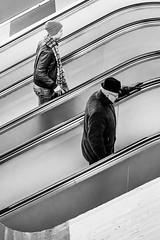 Amsterdam (Peter du Gardijn) Tags: amsterdam metro hat old youngman contrast escalator streetphotography blackandwhite blackwhite winter symmetry leatherjacket gloves composition