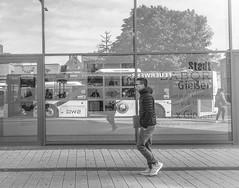 Imaginary (A. Yousuf Kurniawan) Tags: bus busstop people walking walkway reflection streetphotography urbanlife cameraphone cameraphonestreet blackandwhite monochrome minimalism minimalist square display window mirror juxtaposition
