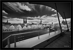 Lübeck, Germany (Dierk Topp) Tags: a7r bw bäume ilce7r ir luebeck voigtlanderheliarhyperwide10mmf56aspherical architecture architektur churches infrared kirche lübeck monochrom sw sony trave trees